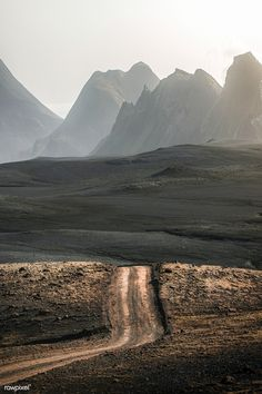 Scenic view of dirt road at Highlands in Iceland | premium image by rawpixel.com / Luke Stackpoole Road Photography, Amazing Photography, The Road Not Taken, Misty Day, Valley Of Fire, Image Fun, Photo Journal, Wild Nature, Nature Reserve