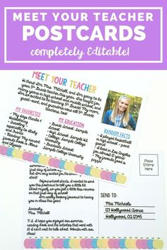 These back to school Meet Your Teacher Postcards are the perfect way to greet your students before they even walk through your door on that first day of school! They will feel so special getting this in the mail! Plus the resource is completely editable