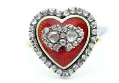 Early-Victorian-Yellow-gold-Enamel-Heart-Ring-Rose-Cut-Diamonds-Red-Enamel