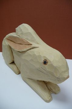 Vintage Wood Carved Rabbit hand carved wooden by SalvageRelics