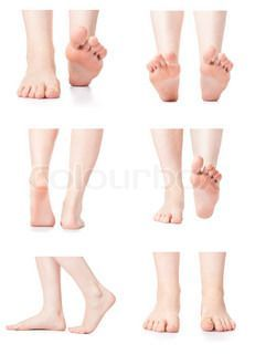Set female feet legs from different directions medicine beauty.