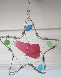 Wire Star Ornament/Sun Catcher with Sea Glass and Beads