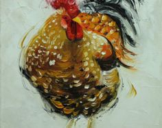 Rooster 764 18x24 inch original animal portrait oil by RozArt