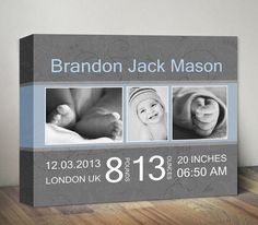 First Birthday Photo and Birth Stats Canvas Print, Personalized First Birthday Gift, 1st Birthday with Photo and Birth Details, Nursery Art by MummyPic on Etsy https://www.etsy.com/listing/240701116/first-birthday-photo-and-birth-stats