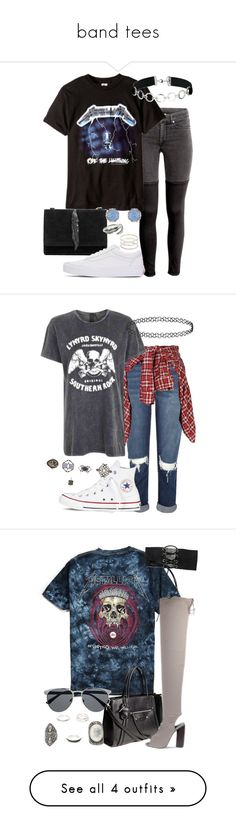 """band tees"" by bekahtee ❤ liked on Polyvore featuring Zara, Vans, Miss Selfridge, Accessorize, River Island, R13, Topshop, Converse, Forever 21 and Urban Outfitters"
