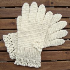 White Gloves With a Flower and Lace Edging, free crochet pattern by Woolen Mitten