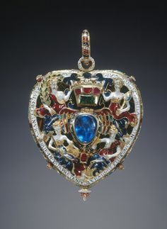 The Darnley or Lennox Jewel from The Royal Collection - - gold, enamel, Burmese rubies, Indian emerald and cobalt-blue glass - probably made for Lady Margaret Douglas, Countess of Lennox - purchased by Queen Victoria in 1842 for 130 guineas Ancient Jewelry, Antique Jewelry, Vintage Jewelry, Royal Crowns, Tiaras And Crowns, Renaissance, Royal Collection Trust, Mary Queen Of Scots, Gold Locket