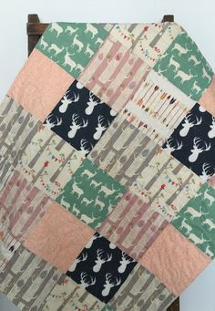Baby Girl Quilt Patchwork Bow and Arrow Fox Woodland by CoolSpool