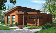 The Sunnyvale home is a beautiful contemporary home. It's 1473 square feet, has 2 bedrooms, 1 bath and an optional bath. Small Modern House Plans, Modern Small House Design, Dream Home Design, Style At Home, Bamboo House Design, Modern Bungalow House, Story House, House In The Woods, Architecture