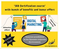 """Enroll yourself for an interactive and growth-driven training program on """"SEO - Digital Marketing"""" with a bunch of benefits and bonus offers to bang on with the 'Festival of Lights' just around the corner.  Limited Seats! Attractive Offers! Impeccable Learning! Immense Possibilities in the Dynamic Business Environment!   So,so don't wait and enroll right now in to a batch starting from October 1st, 2019.  #SEOCertificationCourse #DigitalMarketing #DigitalPlatter  #BestSEOCourse Seo Digital Marketing, Mail Marketing, Content Marketing, Social Media Marketing, Best Seo, Career Opportunities, Festival Lights, Training Programs, App Development"""