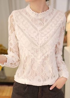 2017 Blusas femininas Casual Women Hollow Out Blouses Long Sleeve Tops Autumn Stand Lace Print Shirts 71768 Chic Outfits, Fashion Outfits, Lace Tops, Lace Blouses, Lace Shirts, Floral Tops, Elegant Outfit, Blouses For Women, Ideias Fashion