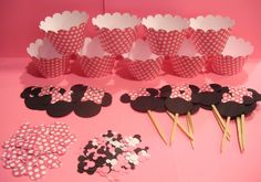 MINNIE MOUSE Birthday Party Package Cupcake Toppers Wrappers Confetti and Heads. $20.00, via Etsy.