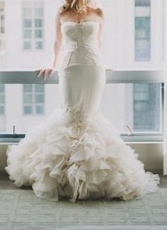VERA WANG HOLLY STRAPLESS MERMAID WEDDING GOWN IN IVORY SZ 6 in Wedding Dresses | eBay