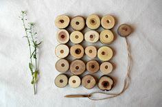 Schnürung aus Holz Spielzeug / Holz Set Schnürung / Waldorf Spielzeug…