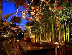 Fairytale Outdoor Dining Area. Plant Bamboo for an oriental style screen and use lots of solar fairy lights to make your own stars. Hanging baskets and candle lanterns above the table create a tunnel effect.