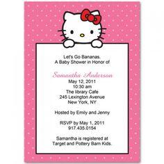 hello kitty polka dots baby shower invitation