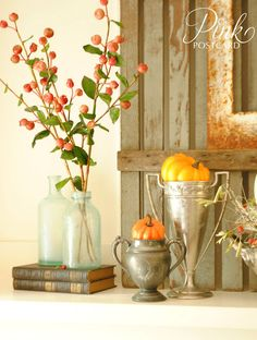 Pink Postcard: Rustic and vintage fall mantel