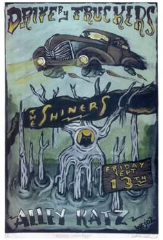 Excellent spooky Wes Freed illustrated flyer for Drive-By Truckers. More at www.wesfreed.com/