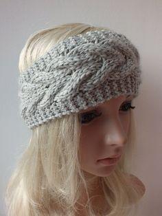Grey Handmade Knitted Headband,  Headwrap, Earwarmer Cable Pattern Fall, Autumn,Winter Accessorie