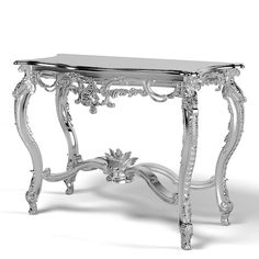 baroque console Platinum classic carved carving classical desk victorian louis baroco rococo glamour table