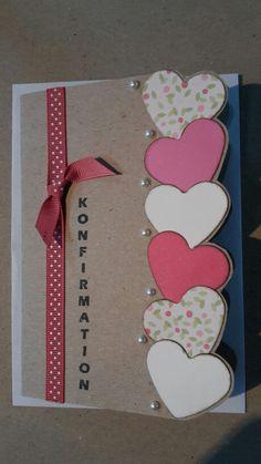 Konfirmationskort. Pige. Lyserøde nuancer. Hjerter. Nuancer, Card Making Inspiration, Creative Cards, Diy Cards, Homemade Cards, Christening, Cardmaking, Diys, Birthdays