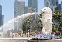 Merlion statue in Merlion Park City, Singapore.