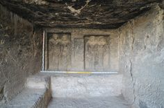 The ancient tomb, possibly for a priest, contains a central room (shown here), with four statues.<br />