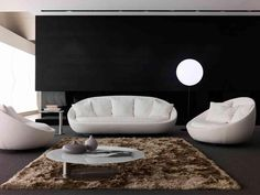 Classy Sofa Set In Modern Living Room With Lamp Standing On Flor Beside Sofa Including Brown Fur Rug Under White Round Table Sofa Set Ideas for Beautiful Living Space living room