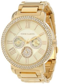 Vince Camuto Women%27s VC%2F5000CHGB Swarovski Crystal Accented Gold-Tone Multi-Function Bracelet Watch