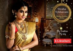 """#VivahaVybhavam Wedding Jewelry collection!! A huge collection of #GoldJewelry, Come and Experience the new range of """"916 Hallmark"""" from #RSBrothers. Reach your nearest R.S.Brothers for more Jewelry Items that are in Enormous Designs."""