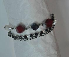 Elegant Tristrand Bracelet, Ruby bracelet, Pearl bracelet,Red bracelet, Tri strand bracelet, Tristrand bracelet