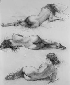 Bryce Cameron Liston. Drawings. Nude woman in three poses. Black and white sketch