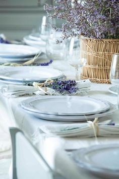 White place setting with napkins rolled with lavender & large lavender centerpiece.