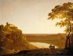 Vue du lac de Nemi au soleil couchant de Joseph Wright dit Wright of Derby (Musée du Louvre)