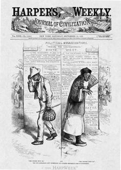 """The N****r Must Go And The Chinese Must Go. The Poor Barbarians Can't Understand Our Civilized Republican Form Of Government."" Source: Harper's Weekly, September 13, 1879, p. 721. Chinese American, African American History, Political Satire, Political Cartoons, Chinese Cartoon, The Sandlot, Library Of Congress, Vintage Advertisements, Vintage Ads"