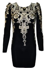 Fashion Embroidery Round Neck Bodycon Dress