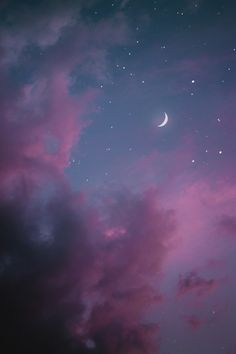 purple and pink sky aesthetic w/ moon Pink Clouds Wallpaper, Cute Galaxy Wallpaper, Night Sky Wallpaper, Scenery Wallpaper, Tumblr Wallpaper, Dark Wallpaper, Galaxy Lockscreen, Purple Wallpaper Iphone, Unique Wallpaper