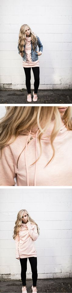 Cute Blush Hoodie : perfect for Fall outfits \\ fall outfit, blush, blush hoodie, pink hoodie, cute hoodie, sweatshirt, pink tennis shoes, pink shoes, ootd, outfit idea, cute outfit idea, outfits