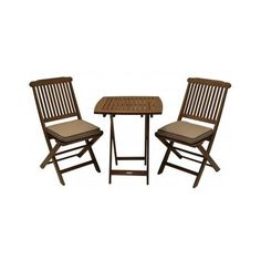 Eucalyptus Veranda Bistro Set Square Table Two Relaxing Chairs With Cushions