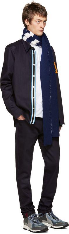 Raf Simons: Navy Denim Patch Shirt | SSENSE