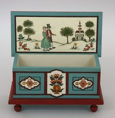 #848 Small box with Trøndelag rosemaling, painting inspired by rosemaling seen during Vesterheim's Folk Art Study Tour to Norway, 2003.