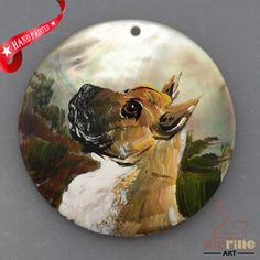 HAND PAINTED BOXER DOG NATURAL MOTHER OF PEARL SHELL NECKLACE PENDANT ZL30 06277 #ZL #PENDANT