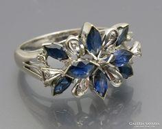 Vintage 18k feher arany gyuru zafir es gyemantokal Sapphire, Vintage, Rings, Places, Jewelry, Jewlery, Jewels, Ring, Jewelry Rings
