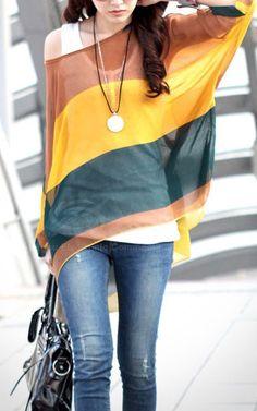 Fashion Bohemia Women Colorful Striped Batwing Chiffon Loose T-Shirt Blouse Tops