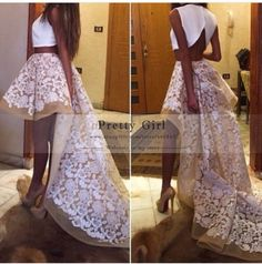 Elegant White Top Tulle with Appliques Lace 2 Two Piece Prom Dresses 2015 Fashionable High Low Long Graduation Party Dress Cheap