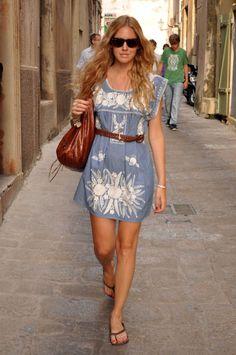 summer dress w/ braided leather belt