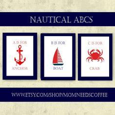 Instant Download Nautical ABCs nautical nursery by MomNeedsCoffee