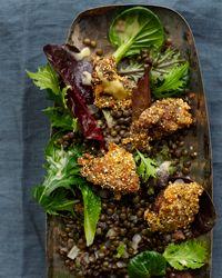 Parmesan-Polenta-Coated Chicken Livers with Lentil Salad Recipe from Food & Wine
