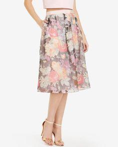 Colourful burnout floral midi skirt - Pink | Skirts | Ted Baker UK