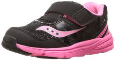 Saucony Baby Ride Pro Running Shoe (Toddler/Little Kid), Black/Coral, 9.5 M US Toddler. Non-marking rubber outsole. Memory foam insole. Antimicrobial treatment lining to minimize the risk of odor causing bacteria.